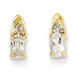 Diamond & White Topaz Earrings 14k Gold XBS272