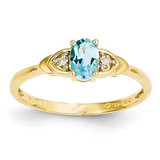 Diamond & Blue Topaz Ring 14k Gold XBS285