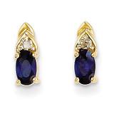 Diamond & Genuine Sapphire Earrings 14k Gold XBS287