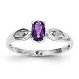 Amethyst Diamond Ring 14k White Gold Genuine XBS297