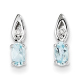 Aquamarine Diamond Earring 14k White Gold Genuine XBS307