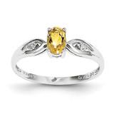 Citrine Diamond Ring 14k White Gold Genuine XBS320