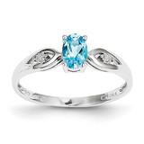 Blue Topaz Diamond Ring 14k White Gold Genuine XBS321