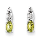 Peridot Diamond Earring 14k White Gold Genuine XBS322