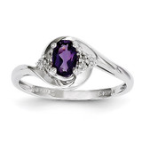 Amethyst Diamond Ring 14k White Gold Genuine XBS369