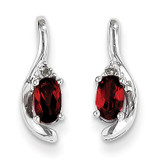 Garnet Diamond Earring 14k White Gold Genuine XBS370