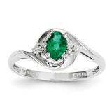 Emerald Diamond Ring 14k White Gold Genuine XBS376