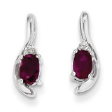 Ruby Diamond Earring 14k White Gold Genuine XBS383