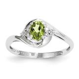 Peridot Diamond Ring 14k White Gold Genuine XBS389