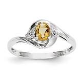 Citrine Diamond Ring 14k White Gold Genuine XBS392