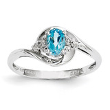 Blue Topaz Diamond Ring 14k White Gold Genuine XBS393