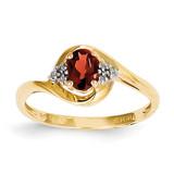 Diamond & Garnet Ring 14k Gold XBS404