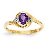 Diamond & Amethyst Ring 14k Gold XBS405
