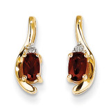Diamond & Garnet Earrings 14k Gold XBS406