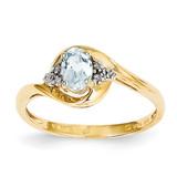 Diamond & Aquamarine Ring 14k Gold XBS410