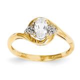 Diamond & White Topaz Ring 14k Gold XBS411