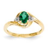 Diamond & Genuine Emerald Ring 14k Gold XBS412