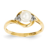 Diamond & Cultured Pearl Ring 14k Gold XBS413