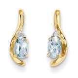 Diamond & Aquamarine Earrings 14k Gold XBS415