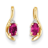 Diamond & Genuine Ruby Earrings 14k Gold XBS419