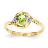 Diamond & Peridot Ring 14k Gold XBS425