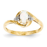 Diamond & Genuine Opal Ring 14k Gold XBS427
