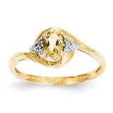 Diamond & Citrine Ring 14k Gold XBS428