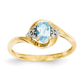 Diamond & Blue Topaz Ring 14k Gold XBS429