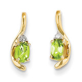 Diamond & Peridot Earrings 14k Gold XBS430