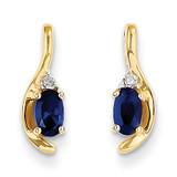 Diamond & Genuine Sapphire Earrings 14k Gold XBS431