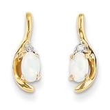 Diamond & Genuine Opal Earrings 14k Gold XBS432