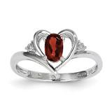 Garnet Diamond Ring 14k White Gold Genuine XBS440