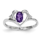 Amethyst Diamond Ring 14k White Gold Genuine XBS441