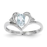 Aquamarine Diamond Ring 14k White Gold Genuine XBS446
