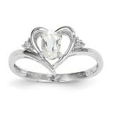 White Topaz Diamond Ring 14k White Gold Genuine XBS447