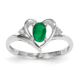 Emerald Diamond Ring 14k White Gold Genuine XBS448