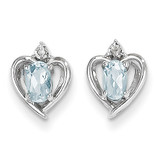 Aquamarine Diamond Earring 14k White Gold Genuine XBS451