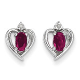 Ruby Diamond Earring 14k White Gold Genuine XBS455