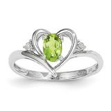 Peridot Diamond Ring 14k White Gold Genuine XBS461