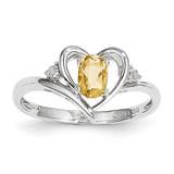 Citrine Diamond Ring 14k White Gold Genuine XBS464