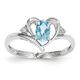 Blue Topaz Diamond Ring 14k White Gold Genuine XBS465