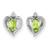 Peridot Diamond Earring 14k White Gold Genuine XBS466