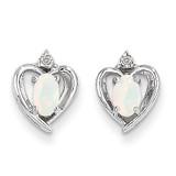 Opal Diamond Earring 14k White Gold Genuine XBS468
