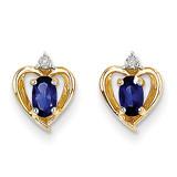 Diamond & Genuine Sapphire Earrings 14k Gold XBS503