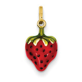Enameled Puffed Strawberry Charm 14k Gold XCH138