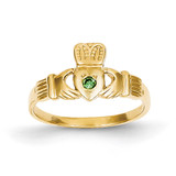 Green Synthetic Diamond Claddagh Ring 14k Gold XCH329