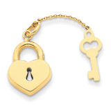 Heart with Key Charm 14k Gold XCH358