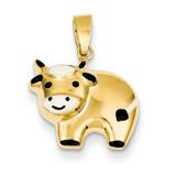 Enameled Cow Charm 14k Gold XCH380