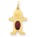 Boy 6x4 Oval Genuine Garnet-January 14k Gold XCK11