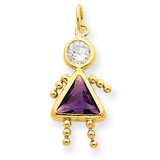 February Girl Birthstone Charm 14k Gold XCK158